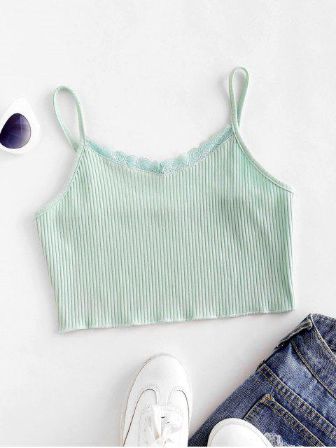 ladies Lace Trim Ribbed Crop Cami Top - CYAN OPAQUE M Mobile
