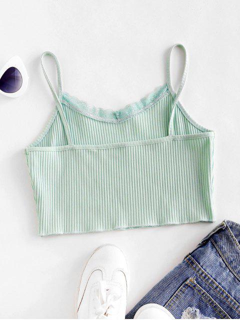 T-shirt Court Côtelé à Bretelle Ourlet en Dentelle - Cyan Opaque XL Mobile