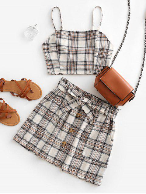 women Plaid Smocked Buttons Belted Two Piece Suit - BEIGE L Mobile