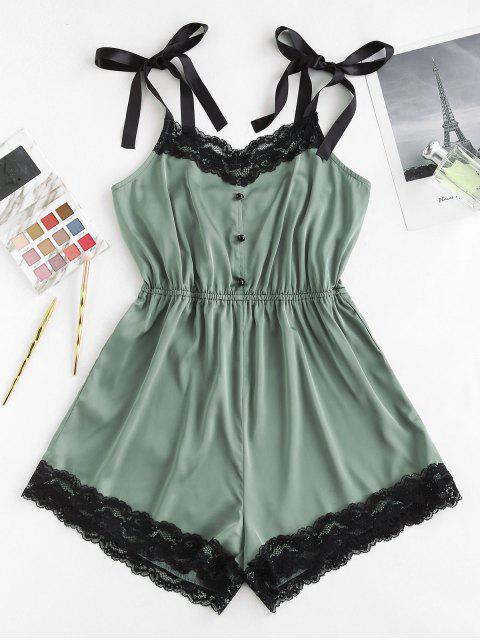 sale ZAFUL Satin Tie Shoulder Lace Panel Romper - DEEP GREEN S Mobile