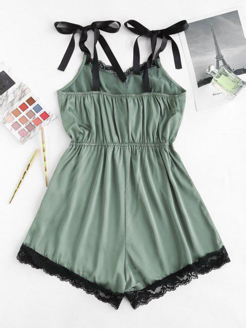 affordable ZAFUL Satin Tie Shoulder Lace Panel Romper - DEEP GREEN M Mobile