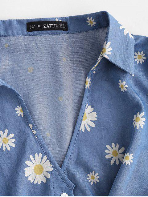 shops ZAFUL Daisy Floral Chambray Knot Cuff Sleeve Blouse - BLUE L Mobile