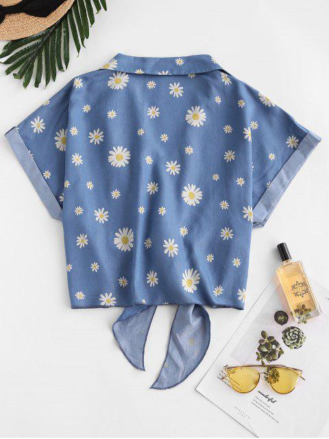 latest ZAFUL Daisy Floral Chambray Knot Cuff Sleeve Blouse - BLUE XL Mobile