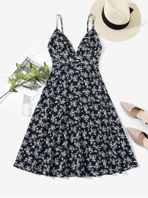 hot ZAFUL Smocked Back Ditsy Floral Cami Dress - CADETBLUE M Mobile