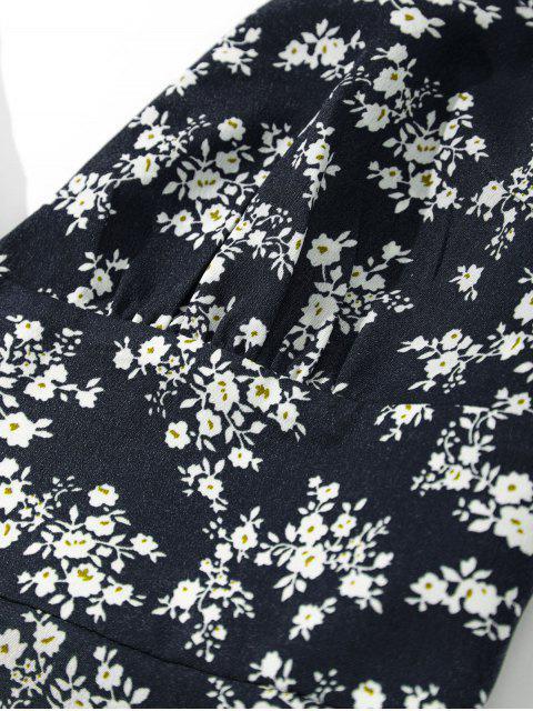ZAFUL Robe Fleurie Plissée au Dos à Bretelle - Cadetblue S Mobile
