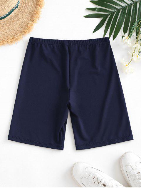ladies High Waisted Stretchy Biker Shorts - DEEP BLUE L Mobile