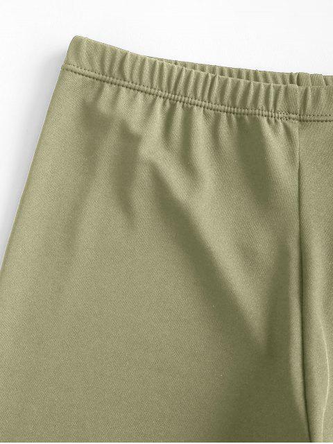 Dehnbare Biker Shorts mit Hoher Taille - Dunkelgrün M Mobile
