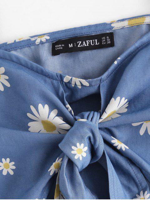 ZAFUL Gebundenes Daisy Blumen Chambray Crop Cami Top - Blau S Mobile