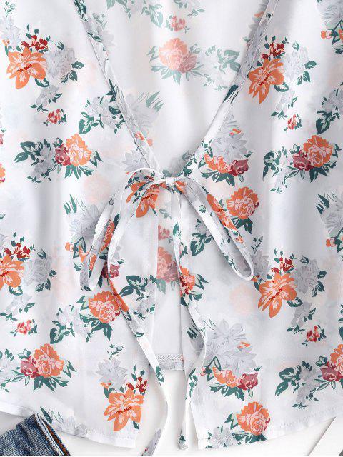 latest ZAFUL Floral Satin Tie Front Crop Blouse - LIGHT BLUE S Mobile