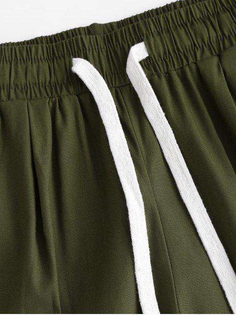 shop Drawstring Pocket Rolled Cuff Boyish Shorts - GREEN S Mobile