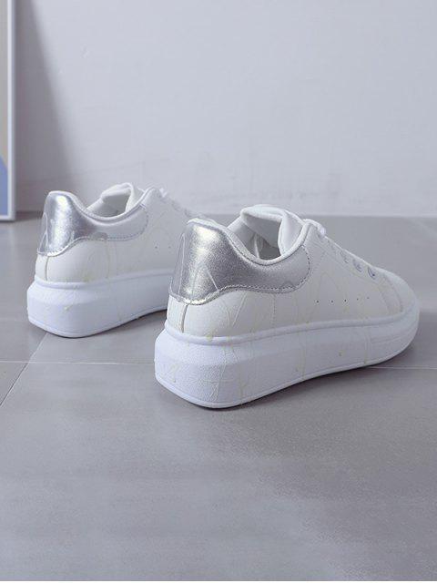 Chaussures de Skate Lumineuses Eclaboussé Design en Cuir PU - Argent EU 39 Mobile