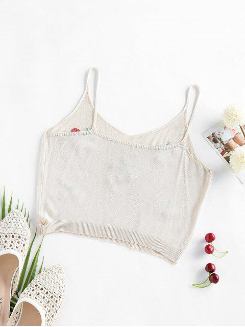 buy ZAFUL Cherry Embroidered Cami Sleeveless Sweater - LIGHT COFFEE S Mobile