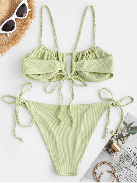 fancy ZAFUL Braided Ribbed Tie Cutout Bikini Swimwear - LIGHT GREEN L Mobile