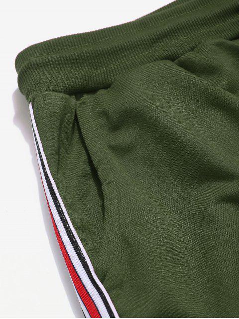 Pantalones de Carga con Cordón a Rayas con Bolsillos Laterales - Verde M Mobile