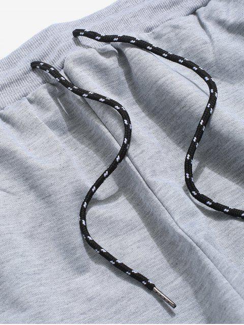 Pantalones de Carga con Cordón a Rayas con Bolsillos Laterales - Gris Claro XL Mobile
