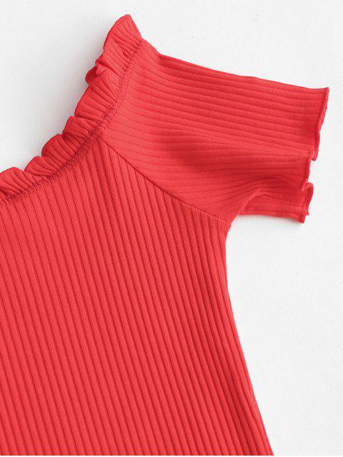 fashion Ribbed Off Shoulder Lettuce Trim Bodysuit - RED S Mobile