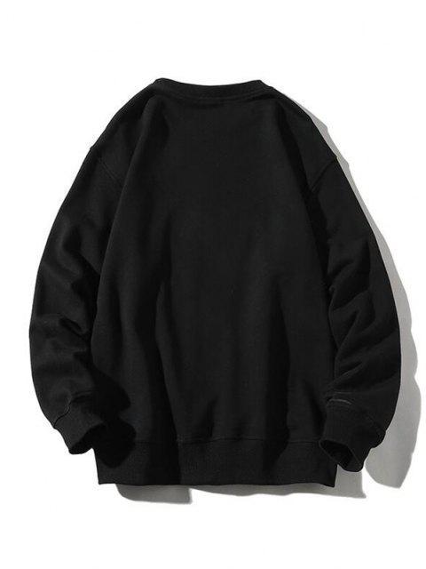 buy Letter Paint Graphic Streetwear Sweatshirt - BLACK L Mobile
