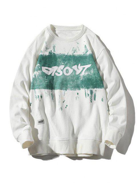 fashion Letter Paint Graphic Streetwear Sweatshirt - WHITE 4XL Mobile