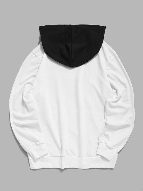 SweatàCapucheRayé en Blocs de CouleursBouleImpriméàCordon - Blanc XL Mobile