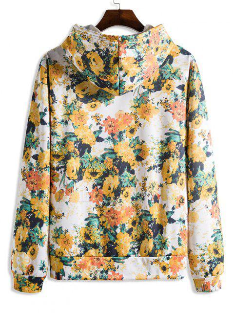 chic Blooming Flower Print Flocking Hoodie - WHITE 3XL Mobile