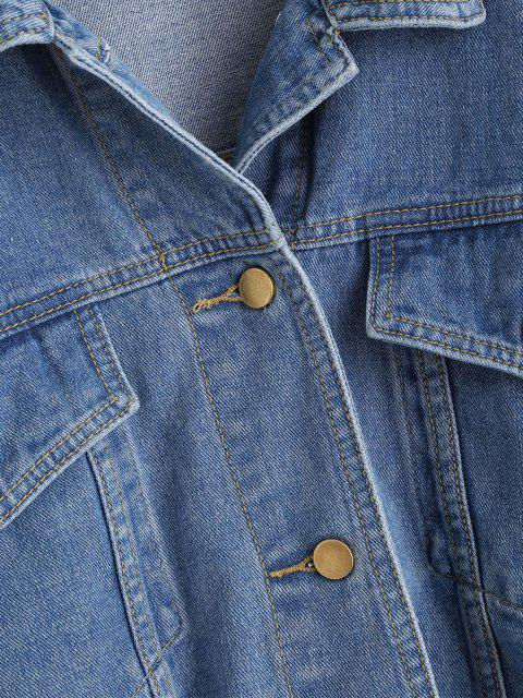 lady Flap Detail Frayed Hem Denim Jacket - BLUE S Mobile