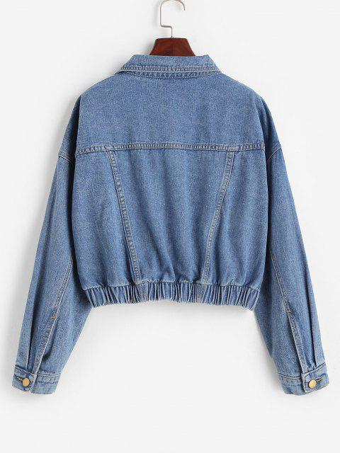 latest Flap Detail Frayed Hem Denim Jacket - BLUE M Mobile