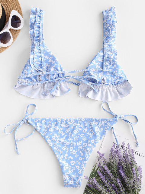 sale ZAFUL Ditsy Print Ruffle High Leg Bikini Swimwear - LIGHT BLUE S Mobile