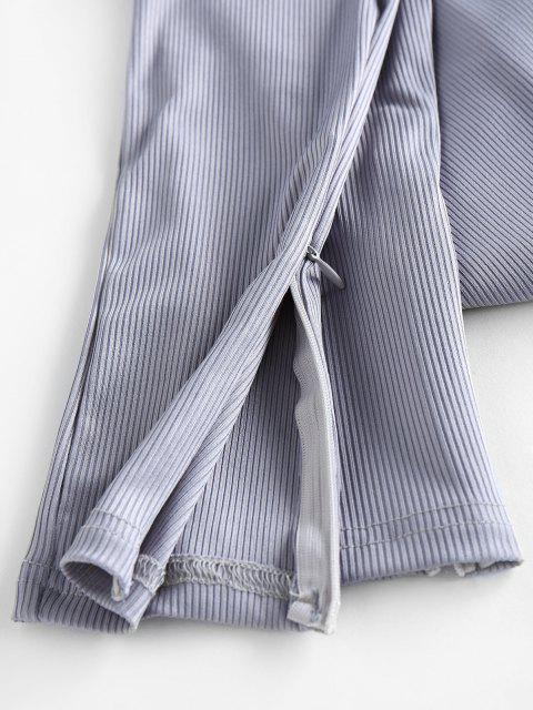 fancy Ribbed Tube Top and Side Zip Pants Set - LIGHT GRAY L Mobile