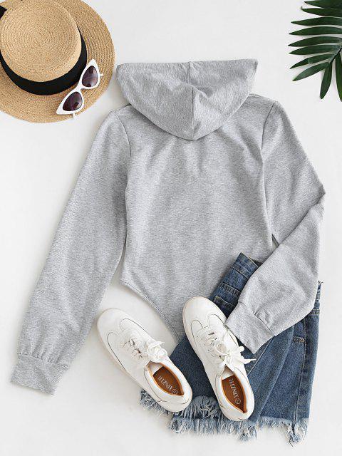 fancy Long Sleeve Drawstring Hoodie Casual Bodysuit - LIGHT GRAY M Mobile