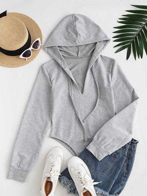 shop Long Sleeve Drawstring Hoodie Casual Bodysuit - LIGHT GRAY L Mobile