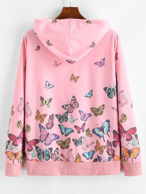 ZAFUL Sweat à Capuche Papillon Imprimé Partout à Cordon - Rose  2XL Mobile