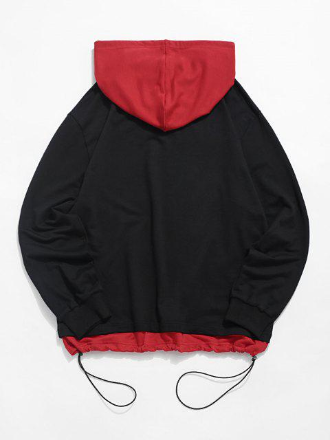 latest Letter Print Toggle Drawstring Faux Twinset Hoodie - BLACK XL Mobile