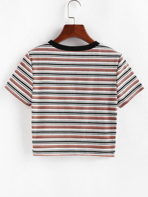 affordable ZAFUL Striped Ribbed Crop T-shirt - MULTI-D S Mobile
