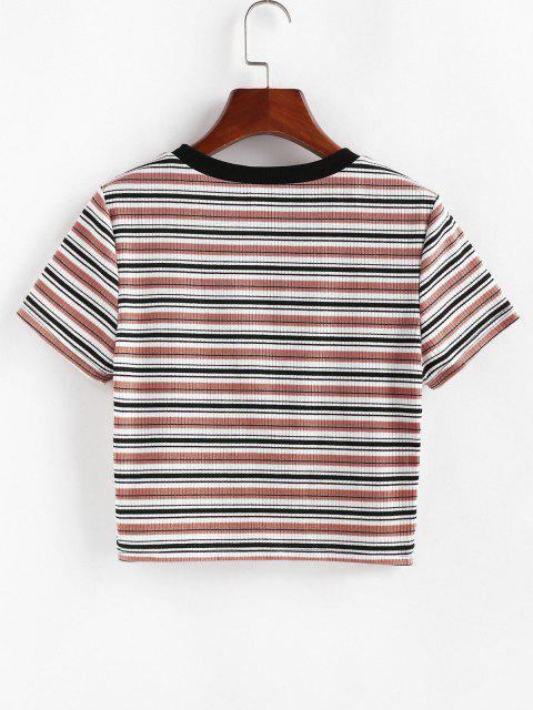 sale ZAFUL Striped Ribbed Crop T-shirt - MULTI-D M Mobile