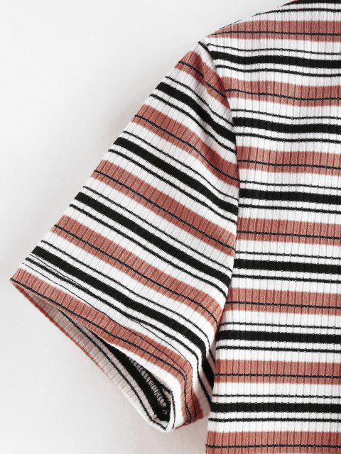 unique ZAFUL Striped Ribbed Crop T-shirt - MULTI-D L Mobile
