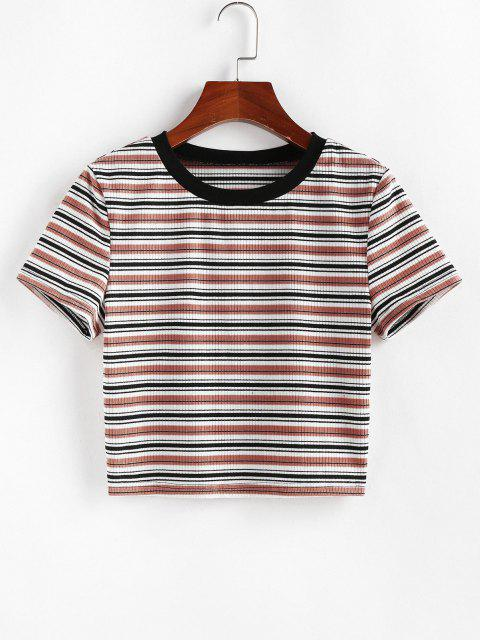 sale ZAFUL Striped Ribbed Crop T-shirt - MULTI-D XL Mobile
