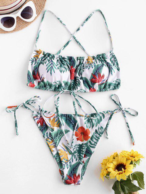 shops ZAFUL Tropical Floral Leaf Tie Side Tanga Bikini Swimwear - WHITE S Mobile