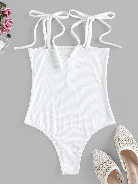 outfit ZAFUL Snap Button Tie Shoulder Ribbed Bodysuit - MILK WHITE M Mobile