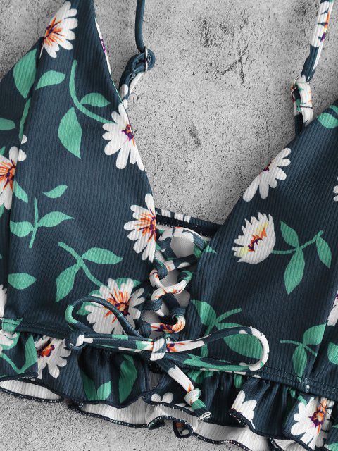 ZAFUL Gänseblümchendruck Tankini Badebekleidung mit Schnürung und Rüschen - Tiefes Blau L Mobile