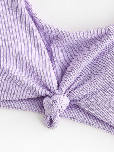 women's ZAFUL Ribbed Knot Bikini Top - LIGHT PURPLE S Mobile