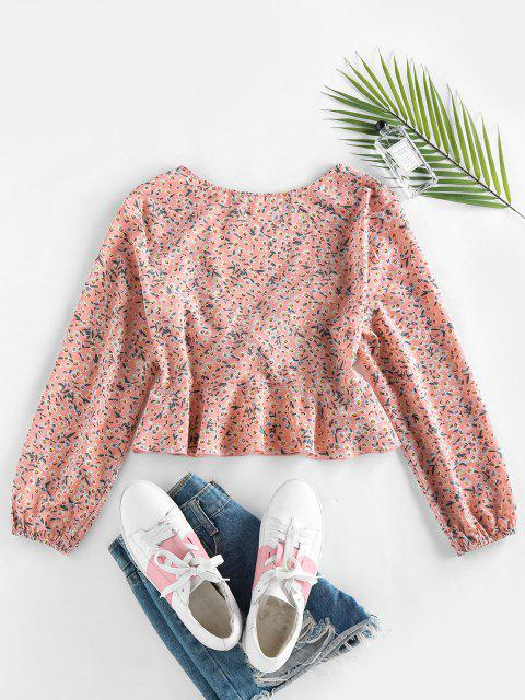 best ZAFUL Ditsy Print Peplum Bowknot Plunging Blouse - LIGHT PINK L Mobile