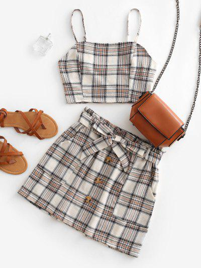 Plaid Smocked Buttons Belted Two Piece Suit - Beige S