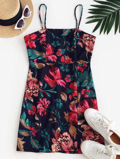 Cami Floral Front Slit Mini Dress - Deep Blue S