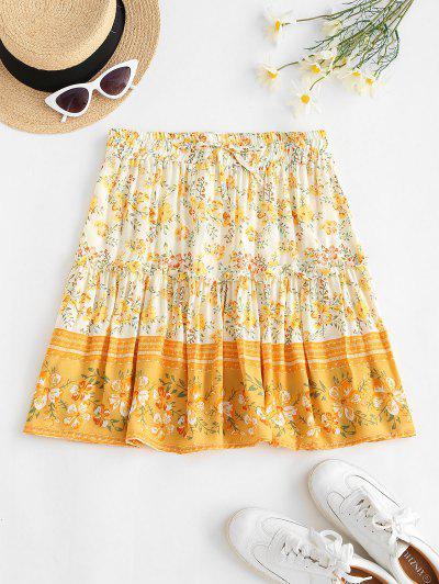 Drawstring Bohemian Floral Mini Dress - Light Yellow M