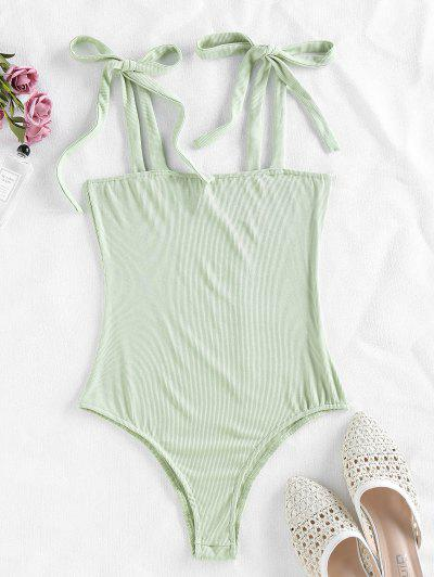 ZAFUL Snap Button Tie Shoulder Ribbed Bodysuit - Light Green S