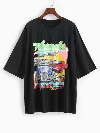 Oversized Thunder Graphic Car Print T-shirt - Black L