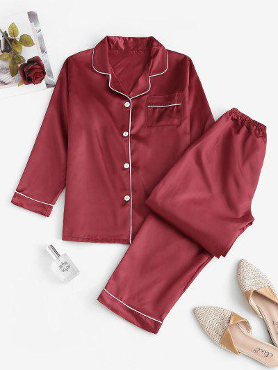 Conjunto De Pijama Con Contraste De Bolsillo De Satén - Rojo M