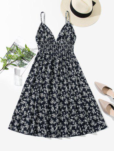 ZAFUL Smocked Back Ditsy Floral Cami Dress - Cadetblue Xl