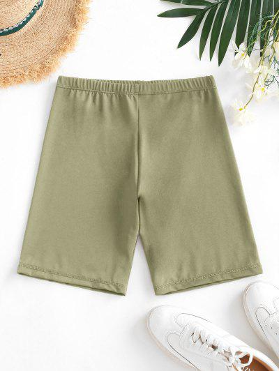 High Waisted Stretchy Biker Shorts - Deep Green L