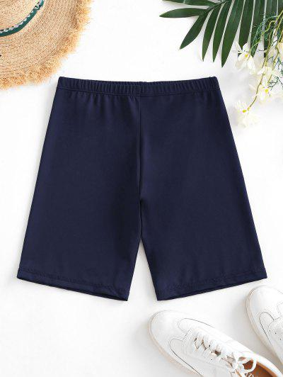 High Waisted Stretchy Biker Shorts - Deep Blue M